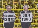 Lambe-lambes com imagens do ministro Paulo Guedes espalhados pela avenida Faria Lima, na zona oeste de São Paulo, coração do centro financeiro brasileiro, neste domingo.
