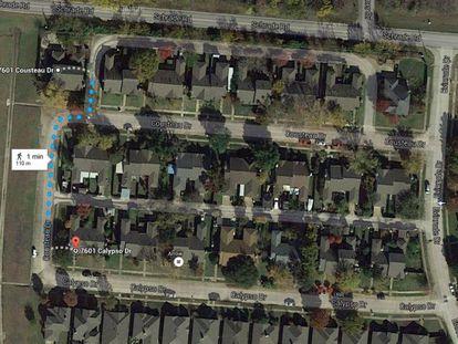 Imagem do Google Maps com as coordenadas equivocadas.