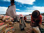 El techo de América está en Bolivia. A más de 4.000 metros sobre el nivel del mar, los bolivianos solo tienen por encima de ellos el cielo, y a sus pies, la mina. Desde 1717, un viejo tren que estaba ya sentenciado cuando se realizó el reportaje, la belleza del paisaje se fundía con la pobreza de sus gentes. Arriba, una familia boliviana recoge sacos de fideos y arroz en la Quiaca (en la frontera con Bolivia), el último pueblo argentino hasta donde llegan cargados los trenes.