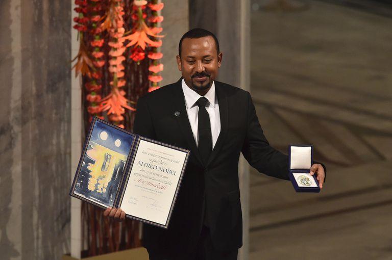 Abiy Ahmed durante a cerimônia de entrega do Prêmio Nobel da Paz, em 10 de dezembro de 2019, em Oslo.