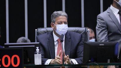 O presidente da Câmara, Arthur Lira, durante sessão no dia 14.