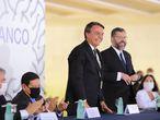 Presidente Jair Bolsonaro e o chanceler Ernesto Araújo em cerimônia de novos diplomatas do Rio Branco, o prestigioso instituto de formação dos diplomatas brasileiros.