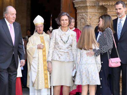 A rainha Letizia e a rainha Sofia no palácio de El Pardo, em 2017
