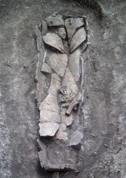 Sarcófago encontrado perto de Nazaré.