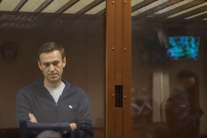 Alexei Navalny, em um tribunal de Moscou, em fevereiro.