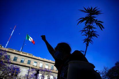 Ativista a favor da legalização da maconha na Cidade do México.