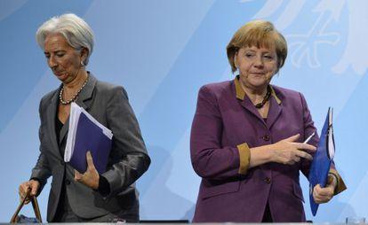 Christine Lagarde, diretora do FMI, e Angela Merkel, chanceler alemã, em uma imagem de 2012.