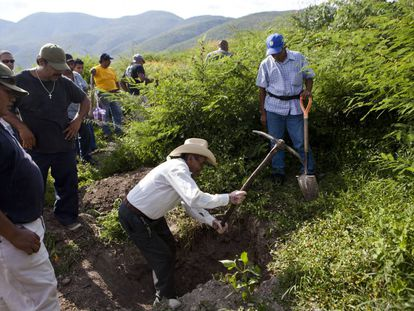 Um grupo busca vestígios dos estudantes desaparecidos em Iguala, em outubro de 2014.