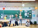 Niños en un aula de un colegio público de Helsinki.