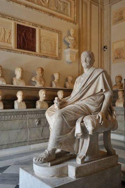 Vista da Sala dos Filósofos dos Museus Capitolinos de Roma.