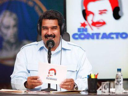 Nicolás Maduro durante o programa de rádio governamental.
