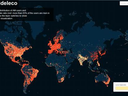Mapa interactivo que mostra os usuários de Ashley Madison por cidades.