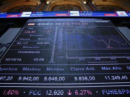 Painel informativo na Bolsa de Madri.