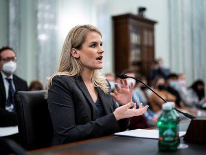 Frances Haugen, em sua aparição nesta terça-feira no Senado.