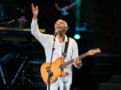Gilberto Gil durante um show em São Paulo.