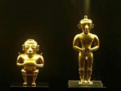 Seis das 122 peças do tesouro quimbaya, presenteado pelo governo colombiano à Espanha e exposto atualmente no Museu da América, em Madri.