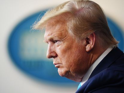 Donald Trump na terça-feira, durante entrevista coletiva na Casa Branca.
