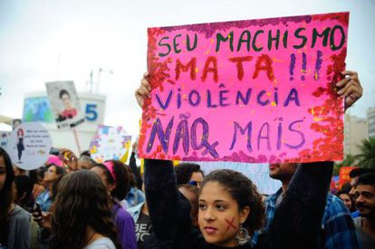 Manifestante na Marcha das Vadias, em agosto do ano passado.