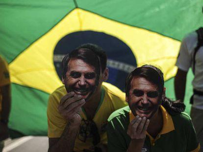 Apoiadores de Jair Bolsonaro no domingo, 9 de setembro, em uma manifestação em Copacabana, Rio de Janeiro.