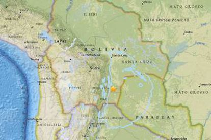 Região do epicentro do terremoto, na Bolívia