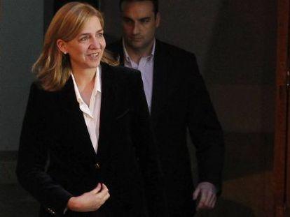 Cristina de Borbón, na saída do tribunal de Palma, quando foi depor.