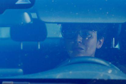 Giannina Maradona, saindo da casa de seu pai dias antes de sua morte.