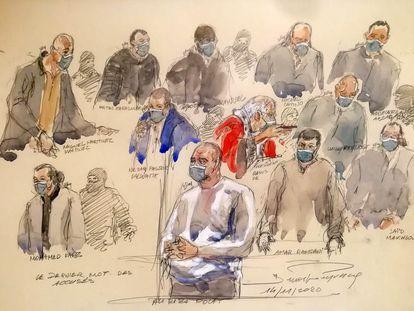 Ilustração feita em novembro dos presentes no julgamento pelos ataques contra o 'Charlie Hebdo' e o supermercado Hyper Cacher.