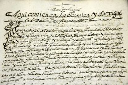 Início de uma crônica do códice. O texto começa em espanhol antigo e prossegue em nauatle.