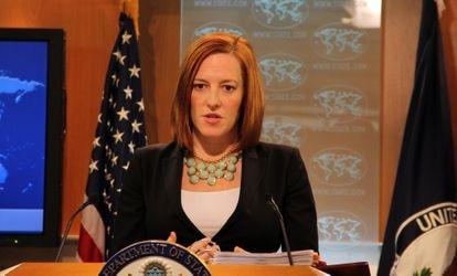 Jen Psaki quando era porta-voz do Departamento de Estado, em 2015.