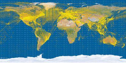 Imagem do tráfego aéreo mundial criada com observações do satélite PROBA-V, da Agência Espacial Europeia.