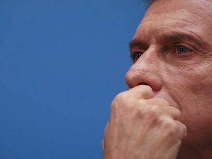 Mauricio Macri em entrevista coletiva na última segunda-feira, após da derrota eleitoral nas primárias