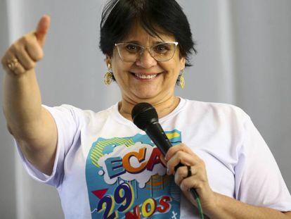 A ministra da Mulher, da Família e dos Direitos Humanos, Damares Alves, participa da celebração aos 29 anos do ECA.