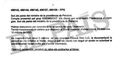 Documento interno da Banca Privada d'Andorra (BPA) do departamento de compliance que menciona a conta bancária dos pais do ex-primeiro ministro da Presidência do Panamá, Demetrio Papadimitriu. EL PAÍS