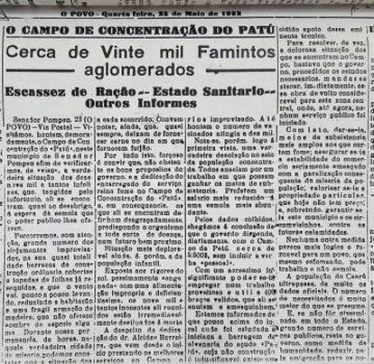 Jornal 'O Povo' de maio de 1932 destacava as condições dos migrantes no 'campo' de Senador Pompeu.