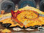 """Smaug el dragón era el último de su especie que quedaba en la Tierra Media y expulsó a los enanos de la Montaña Solitaria tomando su tesoro. Smaug se convierte en el último obstáculo que deben superar Bilbo y la compañía de enanos a los que acompaña para recuperar el tesoro. En esta ilustración, 'Conversación con Smaug', se describe la segunda de las visitas a la cueva. Cuando es descubierto, el hobbit le llama """"Smaug, la más importante, la más grande de las calamidades"""". La nube de vapor alrededor de Bilbo quiere indicar que no pueden ver bien al animal que describe como """"un enorme dragón aureorrojizo""""."""