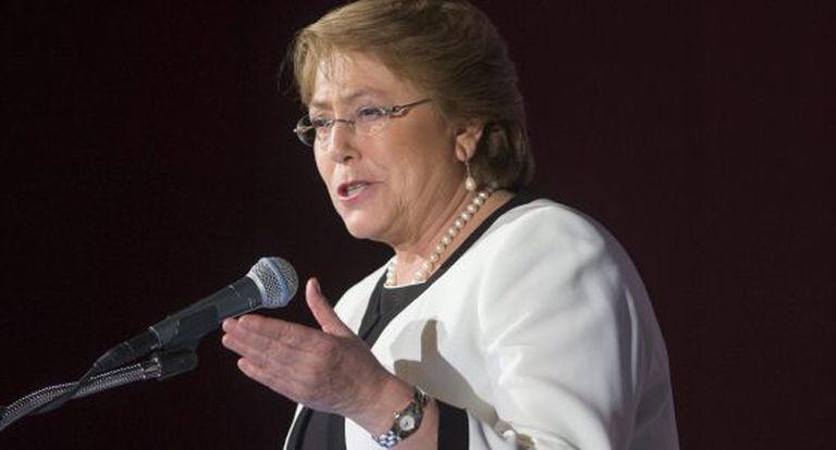 Michelle Bachelet durante um discurso em Washington.