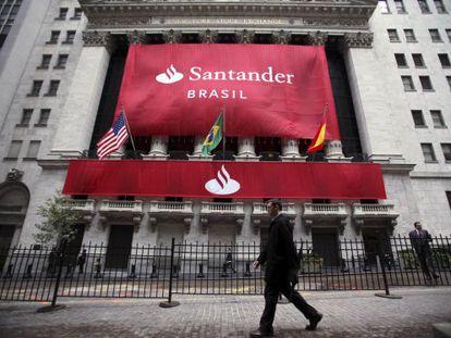 Painel do Santander em Wall Street, quando a filial brasileira entrou na Bolsa em 2009.