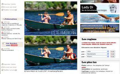A página na Internet do jornal 'L'Express' mostra a fotografia original da Reuters (abaixo) e o retoque da revista 'Paris-Match' do pneuzinho do presidente francês, Nicolas Sarkozy, durante suas férias de verão nos EUA.