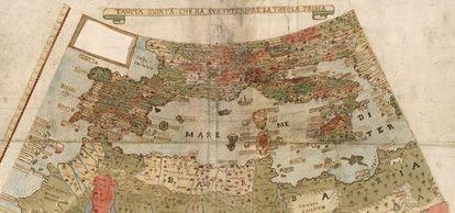 Detalhe do mapa: sul da Europa e norte da África
