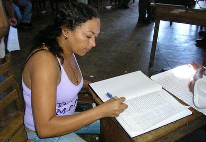 Dilma Ferreira da Silva, assassinada em março de 2019, numa atividade do Movimento dos Atingidos por Barragens.