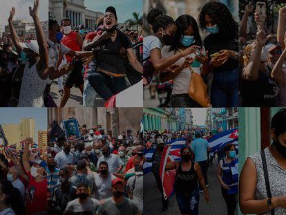 Imagens dos protestos nas redes sociais.