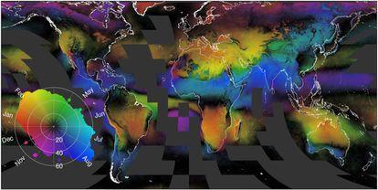 O mapa mostra a distribuição das nuvens desde 1999. Em negro as áreas com maior nebulosidade anual. As diferentes cores e sua intensidade mostram as variações mensais.