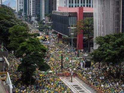 Manifestação na avenida Paulista, em São Paulo.
