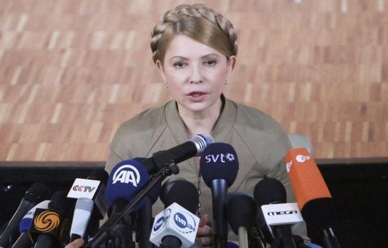 A candidata à Presidência Yulia Timoshenko em Donetsk.