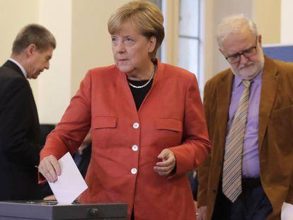 A chanceler da Alemanha reeleita, Angela Merkel.