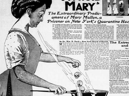 Ilustração alusiva a Mary Mallon na edição de 20 junho de 1909 do jornal 'The New York American'.