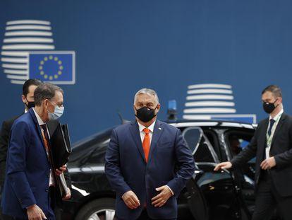 O primeiro-ministro húngaro, Viktor Orbán,em sua chegada ao Conselho Europeu, nesta quinta-feira em Bruxelas.