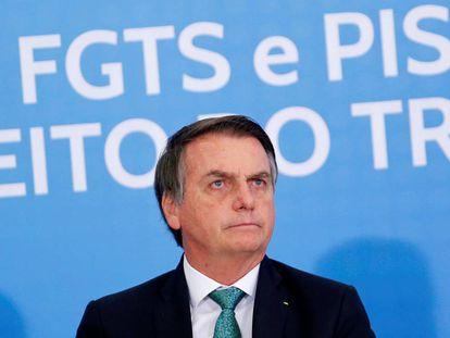 O presidente Bolsonaro nesta quarta-feira em um ato público em Brasília.
