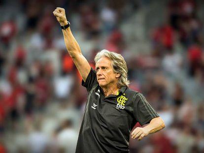 Jesus comemora gol do Flamengo na Copa do Brasil.