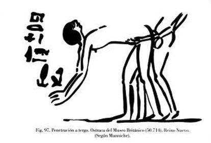 Desenho de uma óstraca de Deir el Medina.